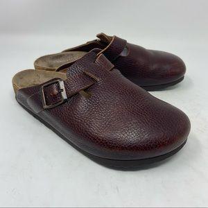 Birkenstock Burgandy/Brown leather clogs